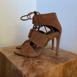 ZARA Chestnut Faux Suede Lace Up Heels
